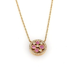 Tiffany & Co. Tiffany Co. Cobblestone Pink Sapphire Diamonds 18k Rose Gold Pendant Necklace