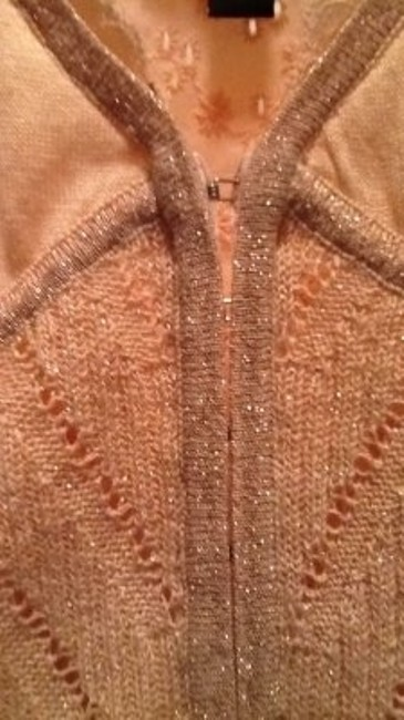 bebe Shimmering Knit Lace Material Top silk peach