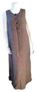 Brown, White Maxi Dress by FLAX Long Tweed