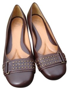 Leather Studded Brown Flats