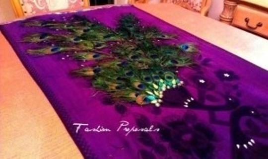 Peacock Purple Table Runner Table Over Lay Tablecloth