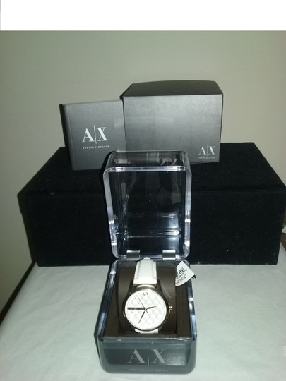 A|X Armani Exchange WITH BONUS Crystal Quilted Dial Leather Strap Watch