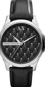 A|X Armani Exchange Crystal Quilted Dial Leather Strap