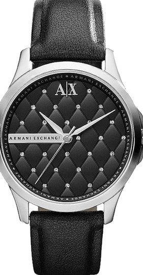A|X Armani Exchange W/BONUS-Crystal Quilted Dial Leather Strap