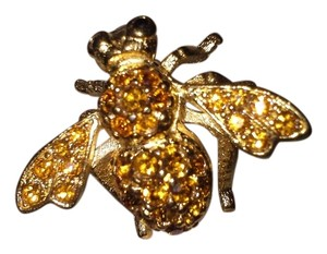 Joan Rivers Joan Rivers Bee pin brooch amber champagne Bright Swarovsky Crystals on 14KGP