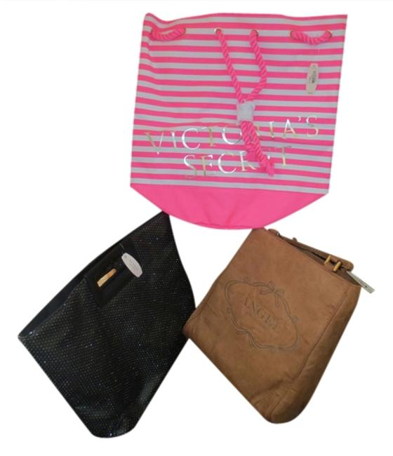 Item - Pink & White Beach Brown and Black Multicolor Tote