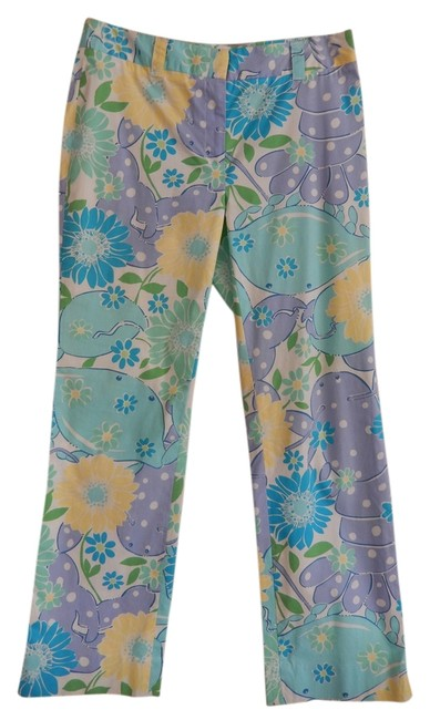 Preload https://item1.tradesy.com/images/lilly-pulitzer-multi-blue-green-white-yellow-vintage-floral-in-trousers-size-4-s-27-13508350-0-2.jpg?width=400&height=650