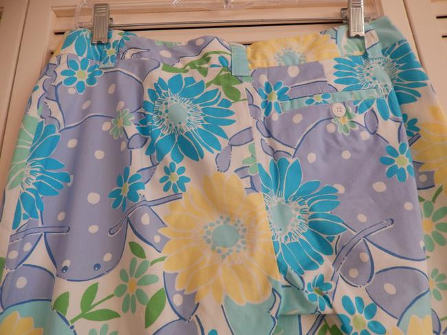Lilly Pulitzer Size 4 Like New Floral Trouser Pants Multi ( blue, green, white, yellow)