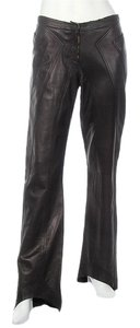 Roberto Cavalli Black Leather Floral Rc.ej1223.04 Wide Leg Boot Cut Pants