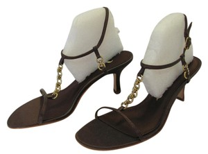 Nina New Size 8.50 M Leather Soles Excellent Condition BROWN, GOLD Sandals