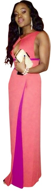 Item - Coral and Purple Classic Long Formal Dress Size 4 (S)