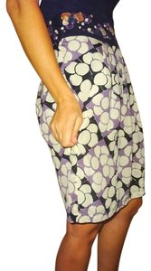 Anthropologie Floreat Style Office Skirt Multi print purple sparkle creme black