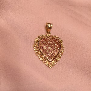 BEVERLY HILLS VINTAGE BEVERLY HILLS GOLD 14K ROSE/YELLOW GOLD FILIGREE HEART PENDANT GENTLY WORN