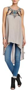 Free People Embellished Asymetrical Top LIGHT GREY