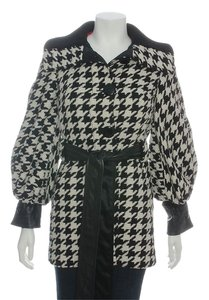 Dolce&Gabbana Black White Houndstooth Dg.eh1219.04 Belted Coat