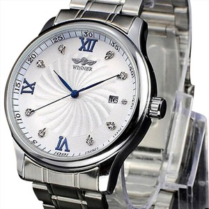Winner Classic Mens-Classic-Automatic-Watch-Stainless-Band-Blue-Roman-Numerals-Limited Edition