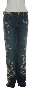Roberto Cavalli Gold Floral Embroidered Rc.eh1219.18 Cotton Boot Cut Jeans