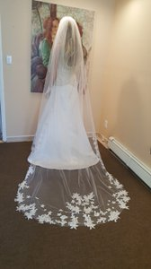 Gorgeous White Cathedral Veil With Lace And Comb Attached