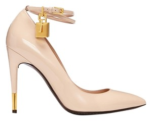 Tom Ford Leather Padlock Nude Pumps