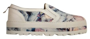 MSGM White and floral Flats