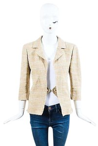 Chanel 03p Cream Linen Cotton Blend Tweed Beige Jacket