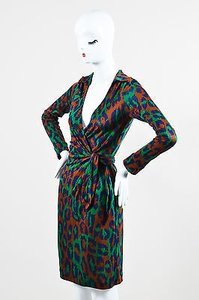 Diane von Furstenberg Brown Blue Green Wrap Dress