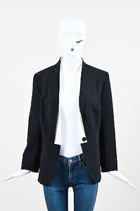 Escada Escada Black White Crepe Double Lapel Single Button Blazer Jacket