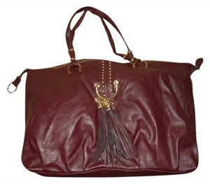 Lionel Faux Leather Tote in burgandy