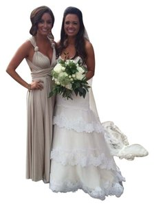 Twobirds Champagne Jersey Bridesmaid Gown Dress