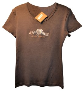 It's Africa Cotton Embroidered Medium T Shirt chocolate