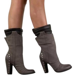 Jessica Simpson Midcalf & Black Suede Studded Leather Grey Boots