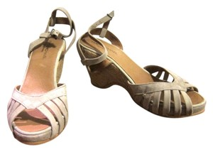 Eric Michael Suede Strappy Peep Toe Beige Wedges