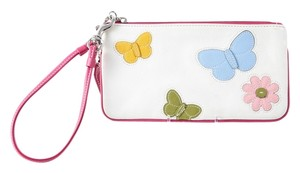Coach Leather Daisy/butterfly Wristlet in White