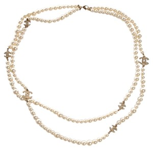Chanel Chanel Necklace Pearls 6 Crystal C Station CC Logos 66
