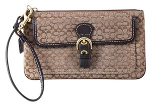 Coach Soho Buckle Pocket Canvas Wristlet in Brown