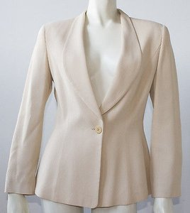 Giorgio Armani Giorgio Armani Tan Beige One Button Shawl Collar Fitted Blazer Hs955