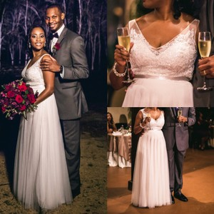 BHLDN Ivory Tulle Persiphone Destination Wedding Dress Size 8 (M)