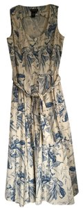 Cream and Blue Maxi Dress by J. Peterman