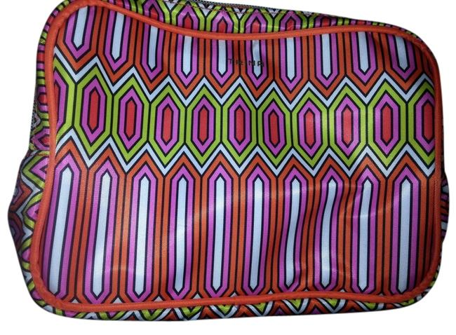 Item - Multi-colored; Pink Gold Dual Zippered Cosmetic Bag