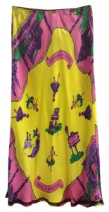 Tibi Silk Graphic Paris Spring Vintage Skirt Multi-Color