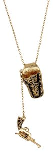 Fresh & Co. Antiqued Gold Tone Pistol & Holster Necklace Free Shipping
