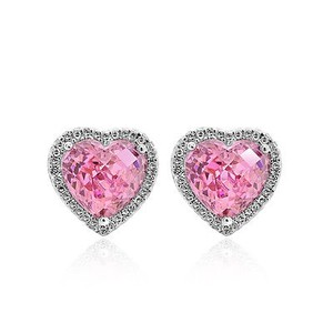 0.35 Carat Diamond Heart Shaped Earrings With Pink Quartz 14k White Gold
