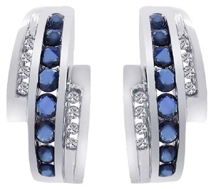 Avital & Co Jewelry 0.55 Carat Sapphire And Diamond Triple J-hoop Earrings 14k White Gold