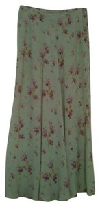 Karen Kane Long Petite Silk Summer Maxi Skirt Light Green