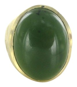 Other 14KT YELLOW GOLD RING JADE OVAL SZ 6 WEDDING BAND 14.7 GRAMS NO SCRAP JEWELRY