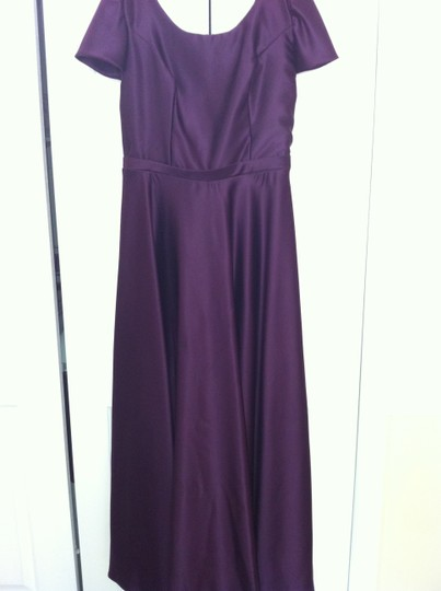 Alfred Angelo Purple Satin Traditional Bridesmaid/Mob Dress Size 14 (L)