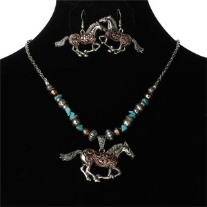 2pc Matching Running Horse Necklace Earring Set Free Shipping