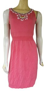 MILLY short dress Pink Cotton Knit Sleeveless Jewelled on Tradesy