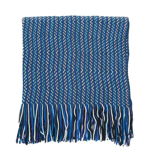 Missoni Missoni Blue/Navy Zigzag Knit Wool Blend Ladies Oversized Stole
