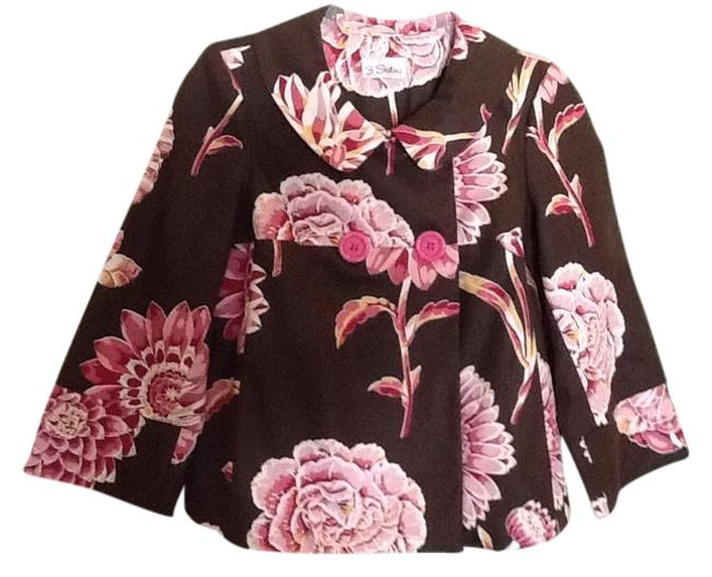 Item - Brown and Pink Floral Swing Blazer Size 4 (S)